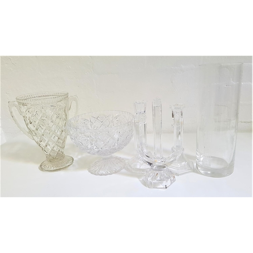 202 - SELECTION OF CRYSTAL AND OTHER GLASSWARE including a pair of RCR chamber sticks, pair of Avon crysta...
