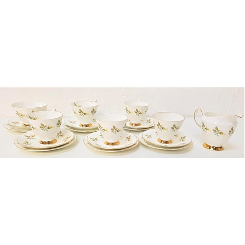 235 - TAYLOR & KENT LONGTON TEA SERVICE with a white and pale pink ground with gilt highlights, comprising...