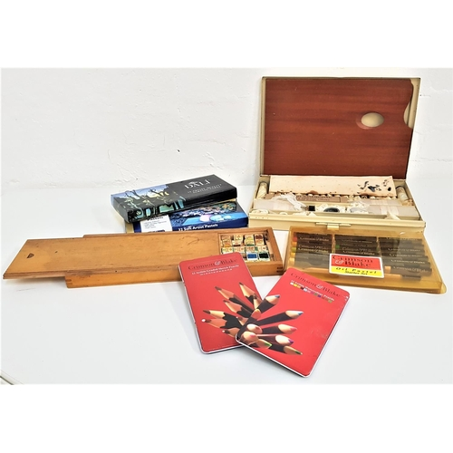 304 - SELECTION OF ARTISTS PAINTS AND EQUIPMENT including a Winsor & Newton travelling set containing a ma...