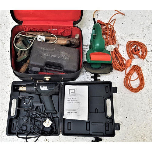 328 - SELECTION OF TOOLS including a Black & Decker electric hedge trimmer, 1600 watt hot air gun, cased a...
