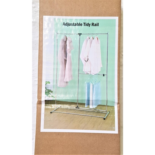 346 - ADJUSTABLE CLOTHES RAIL of tubular form with various hanging rails, new and boxed