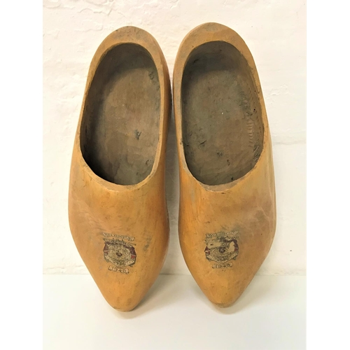 351 - PAIR OF HAND MADE VINTAGE WOODEN CLOGS with transfer crest for Belgique 1945, approximately 31cm lon...
