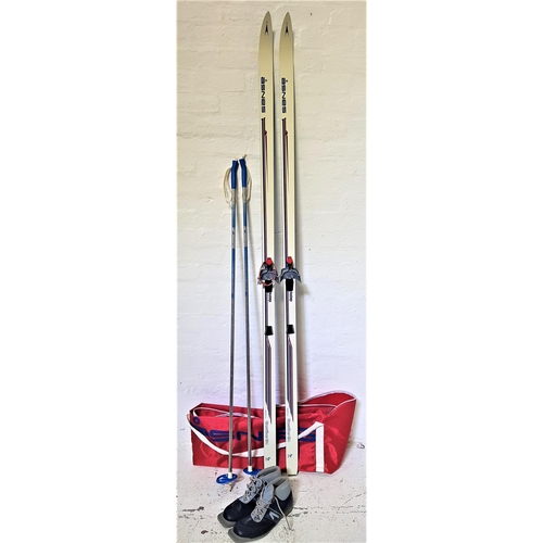 355 - PAIR OF ASNES CROSS COUNTRY SKIS with bindings and 212cm long, a pair of Special Swix ski poles and ...