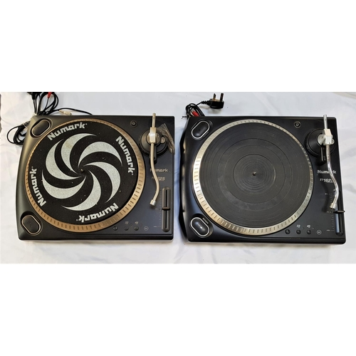 370 - TWO NUMARK TT1625 MANUAL TURNTABLES in black, both with tonearm counterweights...