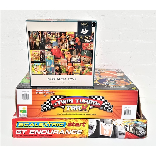 389 - SCALEXTRIC GT ENDURANCE SET with two cars, hand held controls and track, boxed, a Marble Mania Twin ...
