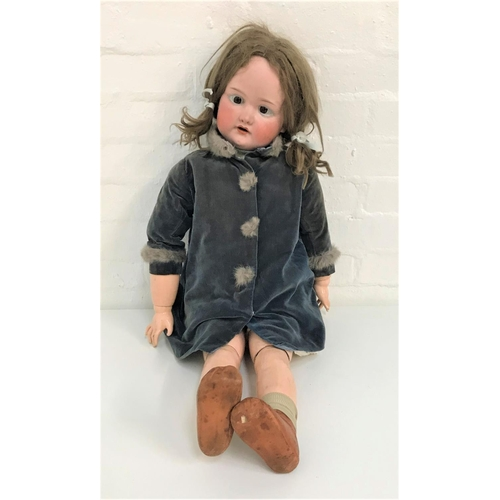 412 - LARGE ARMAND MARSEILLES BISQUE HEAD DOLL marked 390 and A15M, with open eyes and mouth, articulated ...