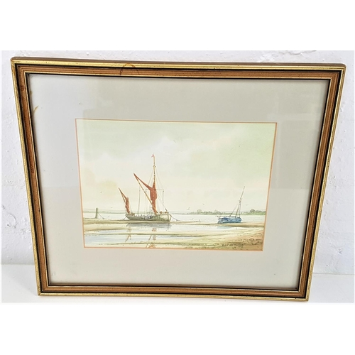 453 - ALAN WHITEHEAD (b. 1952) Fishing boats at low tide, watercolour, signed, 13.5cm x 18.5cm...