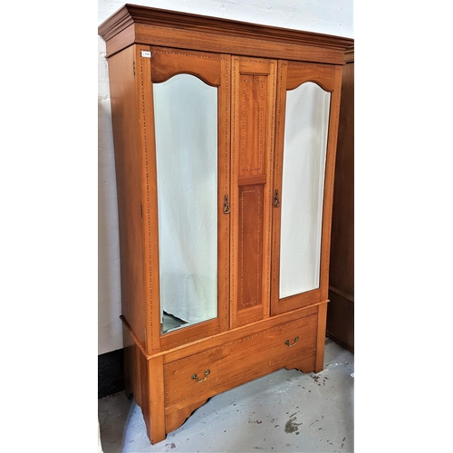 459 - EDWARDIAN MAHOGANY AND INLAID WARDROBE with a moulded pediment above a central double panel section ...