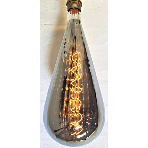 507 - TWO LARGE FEATURE LIGHT BULBS of pear shape with a silvered finish and decorative spiral filament, s...