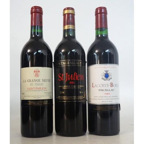 600 - 3 VINTAGE BORDEAUX REDS 3 bottles.  LACOSTE-BORIE, Pauillac 1986 Vintage,  750ml.  12.5% abv.  Speci...