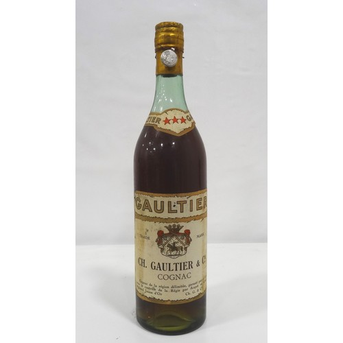 621 - GAULTIER 3 STAR COGNAC A nice old bottle of Gaultier 3 star Cognac distilled by Ch. Gaultier & Cie. ...