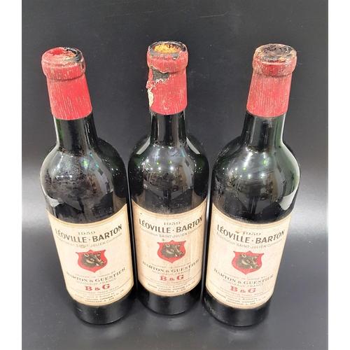 625 - LÉOVILLE BARTON 1959 three bottles of Saint-Julien Red Bordeaux Wine. Shipped in wood by Barton & Gu...