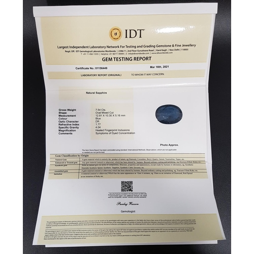 33 - CERTIFIED LOOSE NATURAL SAPPHIRE the oval cut blue sapphire weighing 7.54cts, with IDT certificate