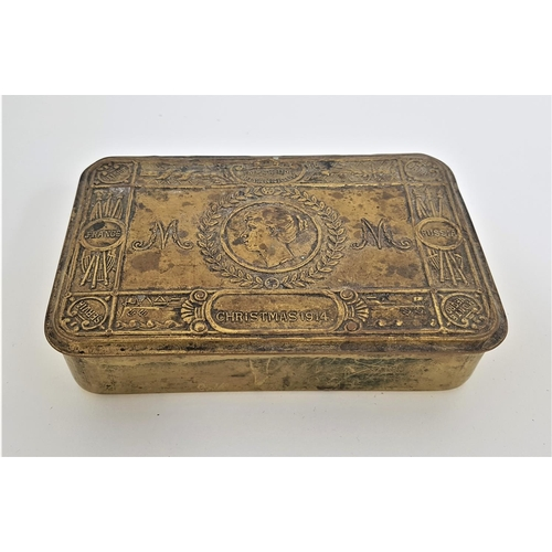 415 - WWI QUEEN MARY BRASS CHRISTMAS TIN dated 1914