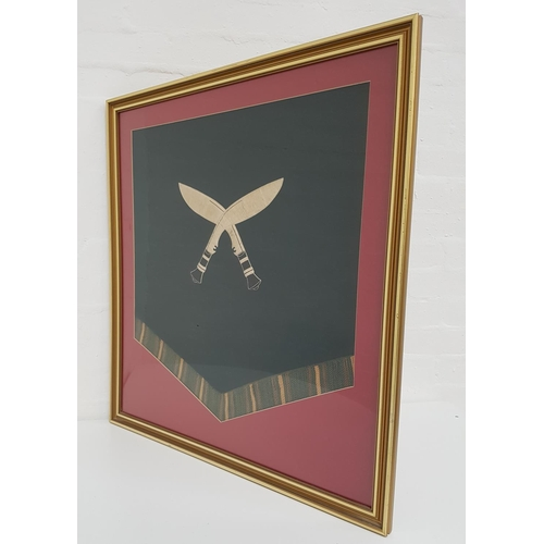 413 - GOORKHAS REGIMENTAL MILITARY PENNANT with crossed kukri and a tassled fringe, mounted under glass, 5...