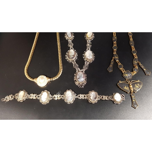 24 - INTERESTING SELECTION OF VINTAGE JEWELLERY comprising a mother of pearl cameo set necklace and match...