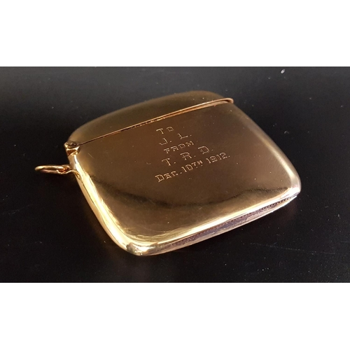 42 - GEORGE V NINE CARAT GOLD VESTA with hinged cover and engraved 'To J. L. from T. R. D. Dec.10th 1912'...