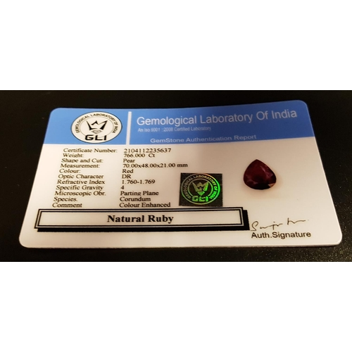 48 - VERY LARGE CERTIFIED LOOSE NATURAL RUBY the pear cut gemstone weighing 766cts, with GLI Gemstone Aut...