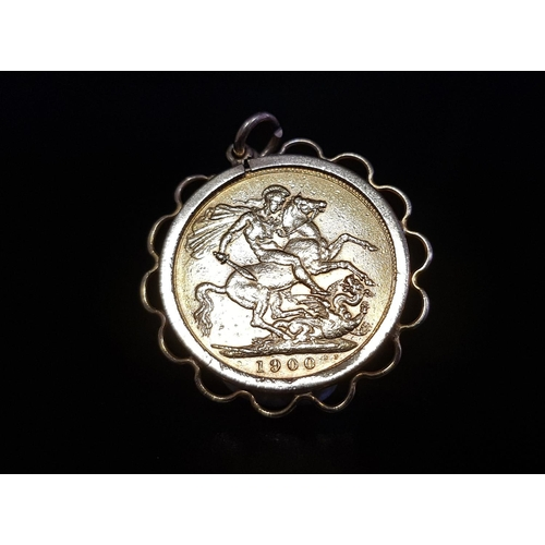 8 - VICTORIA SOVEREIGN COIN dated 1900, in pierced nine carat gold pendant mount, total weight approxima...