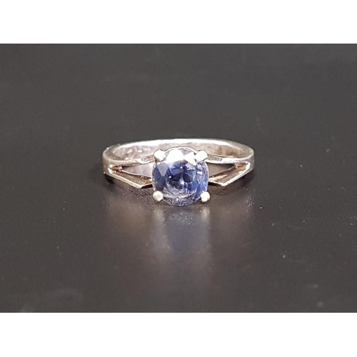32 - ROUND CUT SAPPHIRE SINGLE STONE RING the sapphire approximately 1.25cts, on unmarked white gold shan...