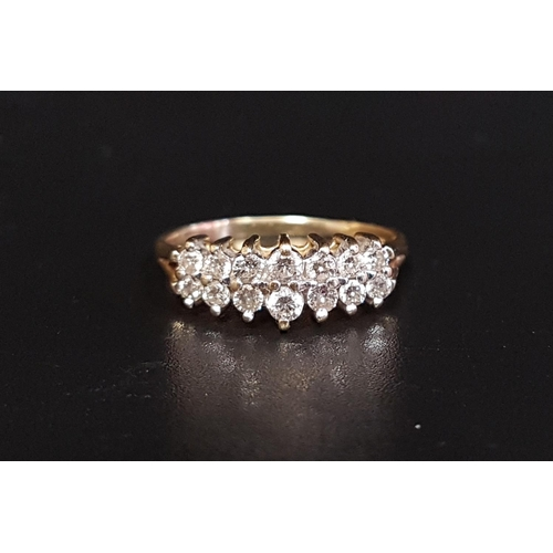 17 - DIAMOND CLUSTER RING the two rows of diamonds in stepped setting totaling approximately 0.5cts, on f...
