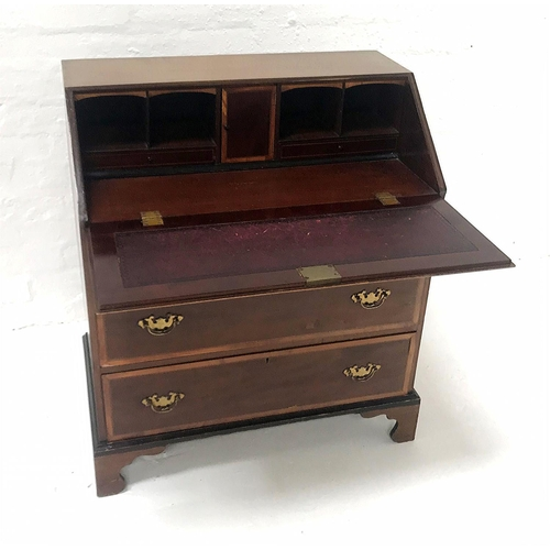 581 - EDWARDIAN MAHOGANY AND INLAID BUREAU the inset fall flap opening to reveal a fitted interior, above ...