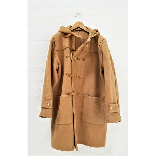412 - ROYAL NAVY ISSUE DUFFLE COAT with hood and toggle fastening, camel colour, size 1