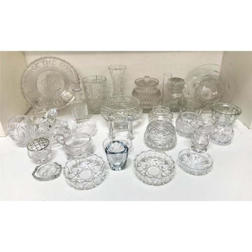 257 - LARGE SELECTION OF CRYSTAL AND GLASSWARE including an etched glass vase, other crystal bowls and vas...