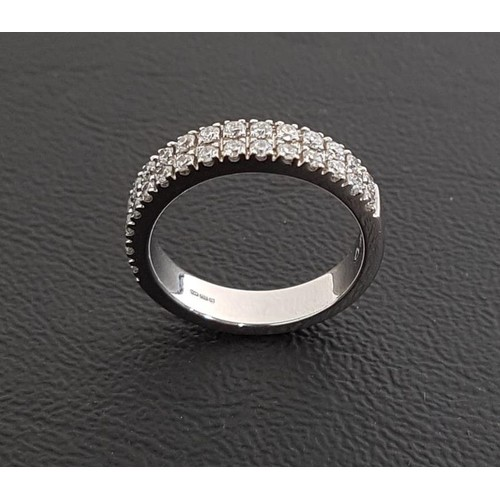 66 - DIAMOND TWO ROW HALF ETERNITY RING the diamonds totaling approximately 0.65cts, in eighteen carat wh...