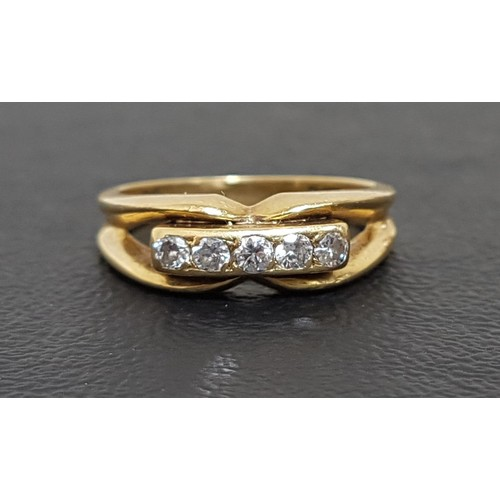 68 - DIAMOND FIVE STONE RING the diamonds totaling approximately 0.25cts, on eighteen carat gold shank wi...