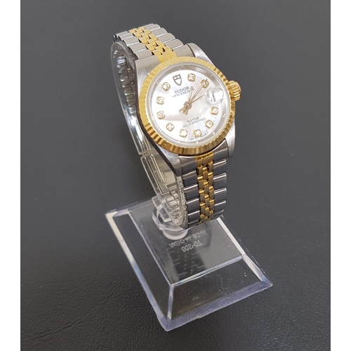 84 - LADIES TUDOR PRINCESS DATE WRIST WATCH the circular mother of pearl dial with diamond hour markers, ...