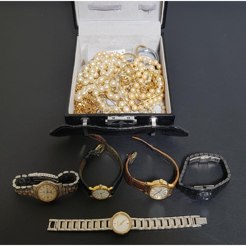 89 - SELECTION OF LADIES WATCHES AND COSTUME JEWELLERY the five watches including Skagen, Citizen and Rot...