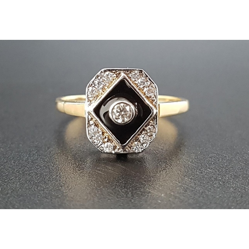 93 - ART DECO STYLE DIAMOND AND BLACK ENAMEL RING the central bezel set diamond approximately 0.1cts in b...