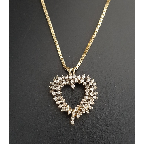 111 - MULTI DIAMOND HEART PENDANT in unmarked gold and on nine carat gold chain, the chain approximately 7...