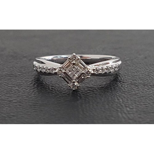 134 - ATTRACTIVE DIAMOND CLUSTER RING set with square, round and baguette cut diamonds totaling approximat...