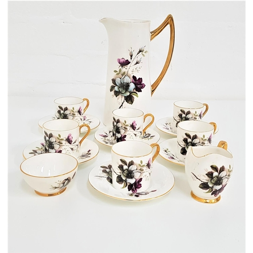 173 - AYNSLEY COFFEE SERVICE decorated with a white ground with flowers and gilt highlights, comprising co...