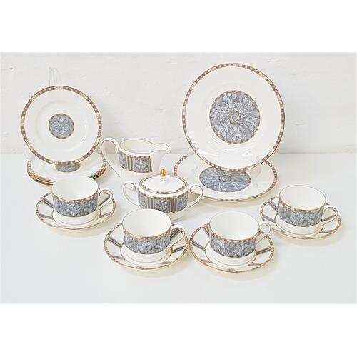 195 - WEDGWOOD CORINTH TEA SERVICE comprising cups and saucers, side plates, milk jug, lidded sugar bowl a...