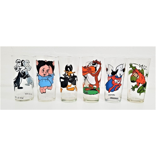 217 - SIX 1970s PEPSI COLLECTOR SERIES GLASSES comprising three Warner Bros. examples from 1973 - Pepe le ...
