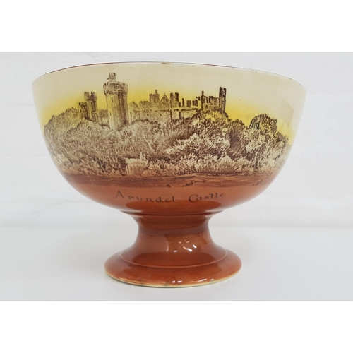 219 - ROYAL DOULTON BOWL from the Church and Castle Series, printed and painted with Arundel and Bodiam Ca...