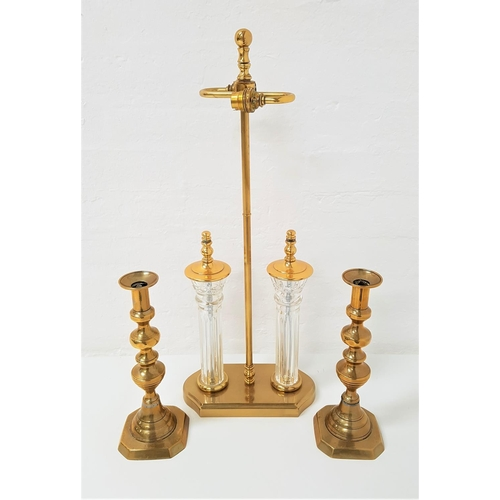 233 - PAIR OF BRASS KNOPPED CANDLESTICKS raised on square basses, one with an ejector, 30cm high, together...