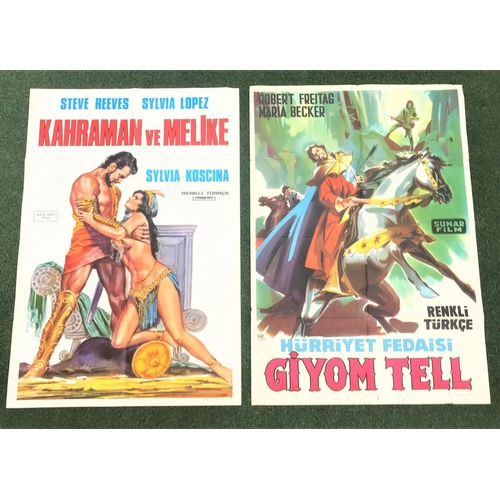 263 - EIGHT VARIOUS BRITISH AND WORLD FILM POSTERS including Turkish 'Giyom Tell' (William Tell) and 'Kara...