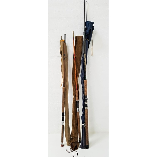 298 - THREE SPINNING RODS comprising Shakespeare carbon 2.7m, black arrow and 7ft 6