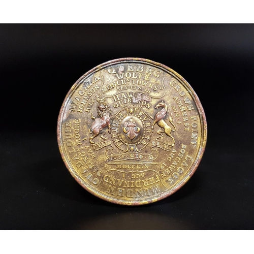 335 - COMMEMORATIVE BRONZE MEDAL USA, Canada and the Americas, British Victories of 1758 and 1759, Bronze ...