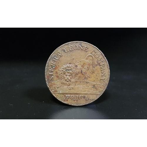352 - 1791 SIERRA LEONE COMPANY PENNY struck in bronzed copper, lion facing, AFRICA below, rev. clasped ha...