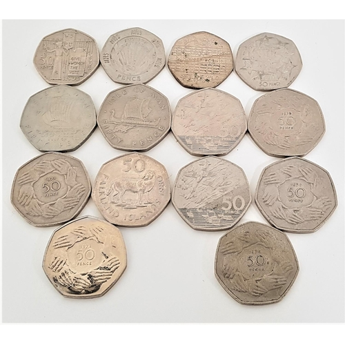 361 - SELECTION OF FOURTEEN 50p COINS comprising two 1994 D Day Planes And Boats, five 1973 50p Rare Hand ...