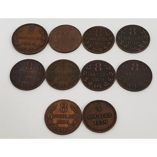 369 - SELECTION OF TEN GUERNSESEY DOUBLES COINS comprising; 1830 4 doubles, 1834, 1864, 1874, 1885, 1889, ...