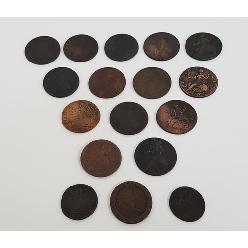 371 - SELECTION OF GEORGE II COINS including 1745 halfpenny, 1747 halfpenny, 1734 halfpenny, 1737 halfpenn...