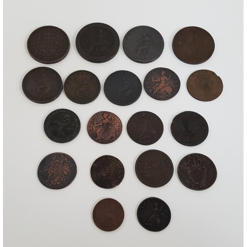 372 - SELECTION OF GEORGE III COINS including 1813 One Stiver, 1832 halfpenny token, 1799 halfpenny, etc.