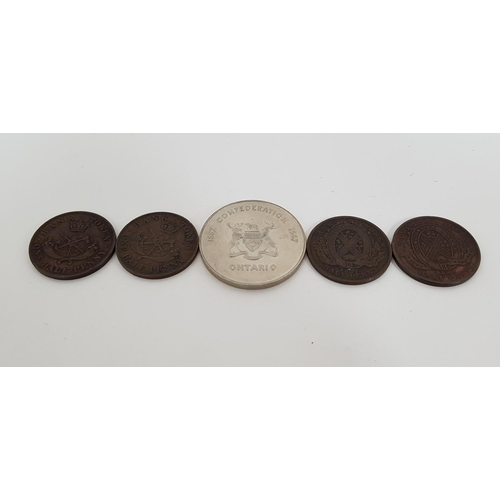 379 - FOUR CANADIAN BANK TOKENS dated; 1814, 1837, 1852, 1857 together with a Ontario mining confederation...