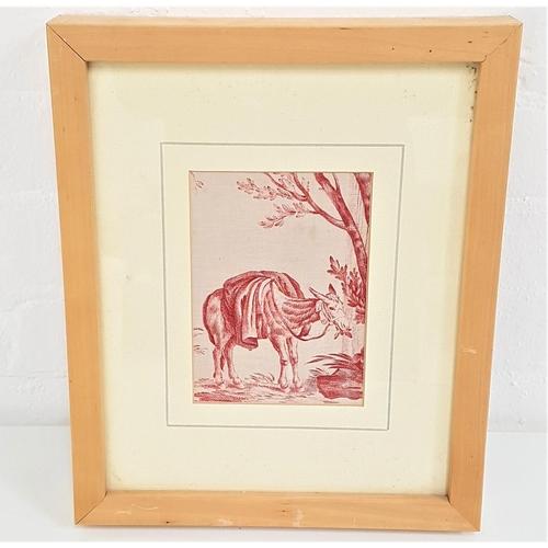 392 - CONTINENTAL SCHOOL Working Donkey, screen print on fabric, 15.5cm x 11cm